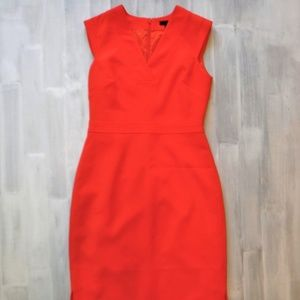 J Crew Coral V Neck Sleeveless Sheath Dress